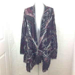 Lucky Brand Open Front Cardigan Fringe Fleece Boho